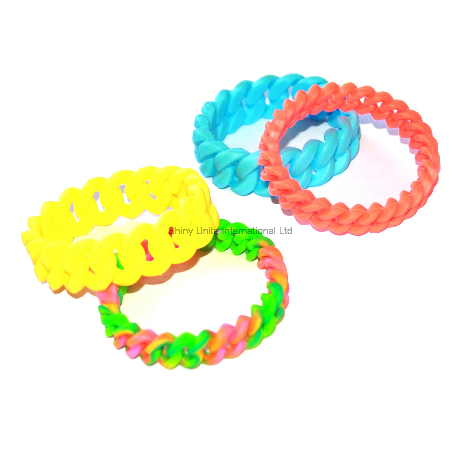 chain twist rubber band bracelet shiny unite